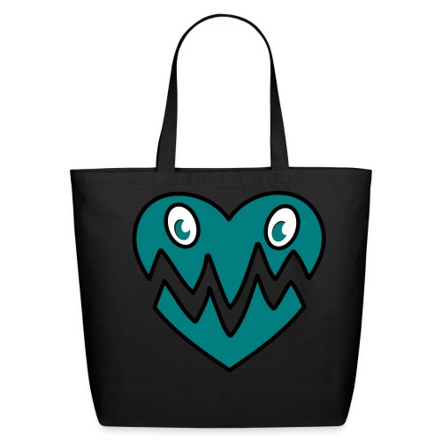 Monster Heart Bag Blue - Eco-Friendly Cotton Tote