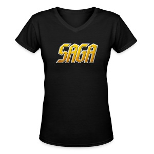 Saga ladies Logo v-neck - Women's V-Neck T-Shirt