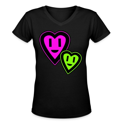 Green & Pink Smiley Hearts - Women's V-Neck T-Shirt
