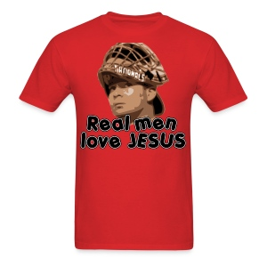 Real men love Jesus (Flores). - Men's T-Shirt