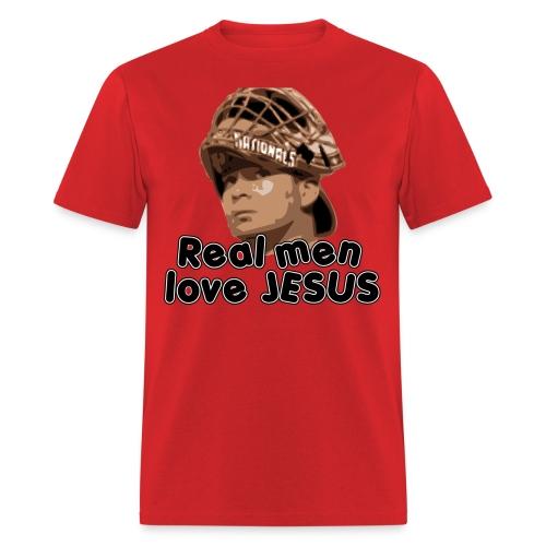 Real men love Jesus (Flores). - Men's T-Shirt