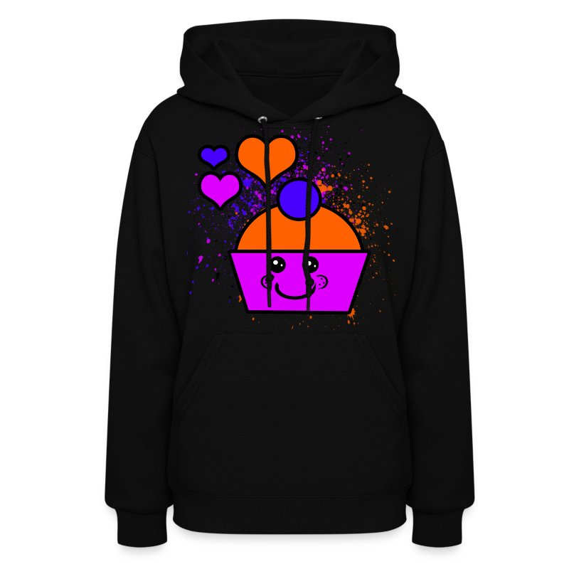 Pink & Orange Cupcake With Hearts - Women's Hoodie