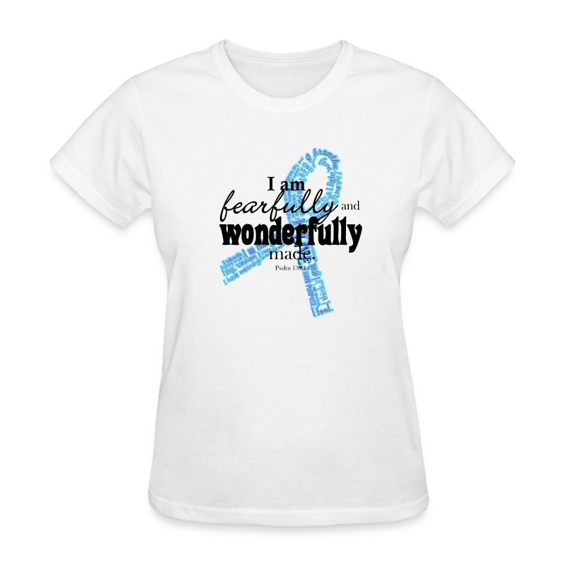 Fearfully made blue ribbon names with pink ribbon on back - Women's T-Shirt