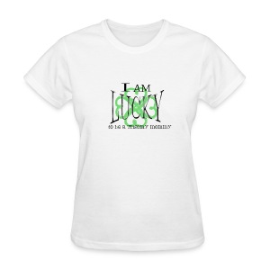 Lucky Trisomy mommy names with pink ribbon on back - Women's T-Shirt