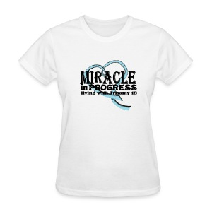 T18 Miracle in progress names with pink ribbon on back - Women's T-Shirt