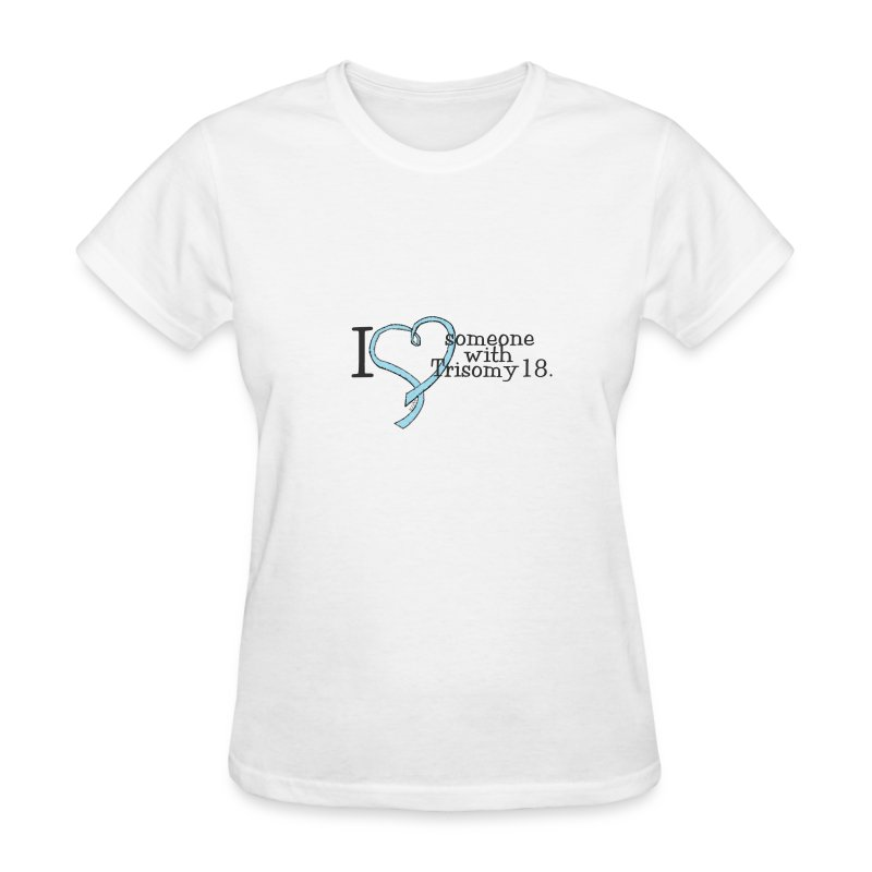 Love someone with T18 names with pink ribbon on back - Women's T-Shirt