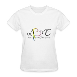 Love doesn't count Chromosomes names with pink ribbon on back - Women's T-Shirt