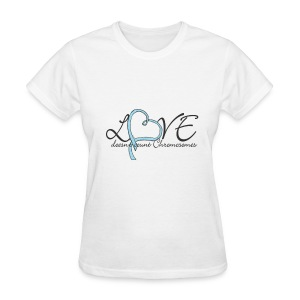 Love blue heart doesn't count Chromosomes names with pink ribbon on back - Women's T-Shirt