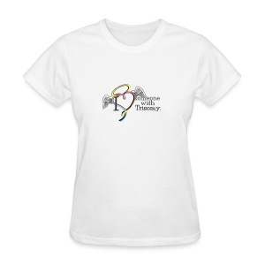Love someone with Trisomyangel names with pink ribbon on back - Women's T-Shirt