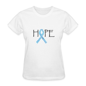 Hope blue ribbon names with pink ribbon on back - Women's T-Shirt