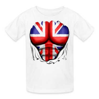 UK Flag Ripped Muscles, six pack, chest t-shirt