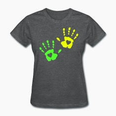 Two Heart Handprint Women's T-Shirts