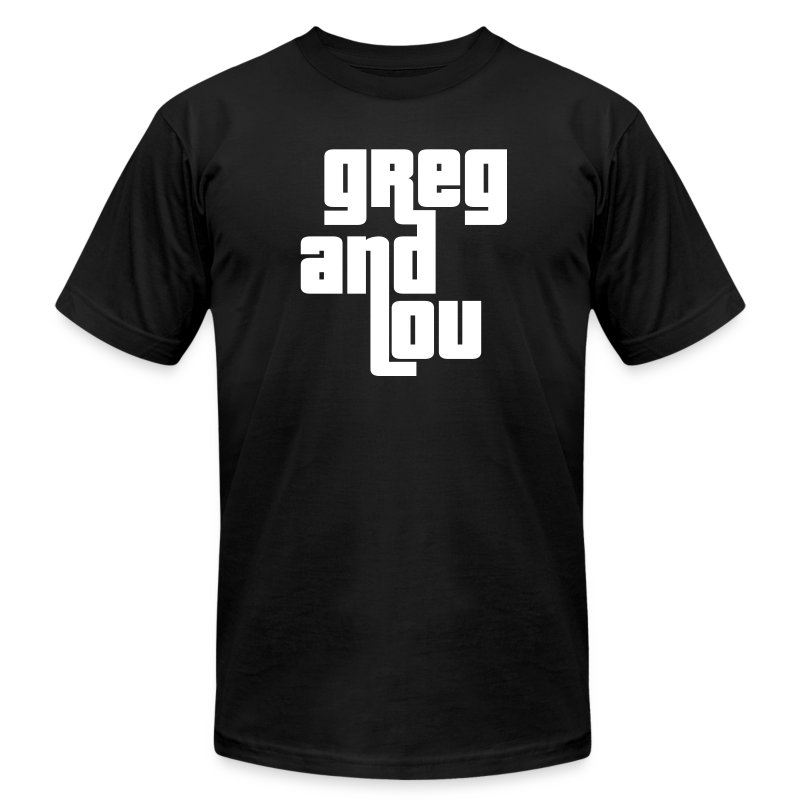 Greg and Lou (white text) - Men's T-Shirt by American Apparel