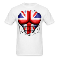 T-Shirts ~ Men's T-Shirt ~ UK Flag Ripped Muscles, six pack, chest t-shirt