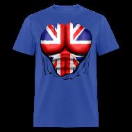 T-Shirts ~ Men's T-Shirt ~ UK Flag Ripped Muscles, six pack, chest t-shirt