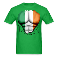 T-Shirts ~ Men's T-Shirt ~ Ireland Flag Ripped Muscles, six pack, chest t-shirt