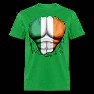 T-Shirts ~ Men's T-Shirt ~ Ireland Flag Ripped Muscles, six pack, chest t-shirt