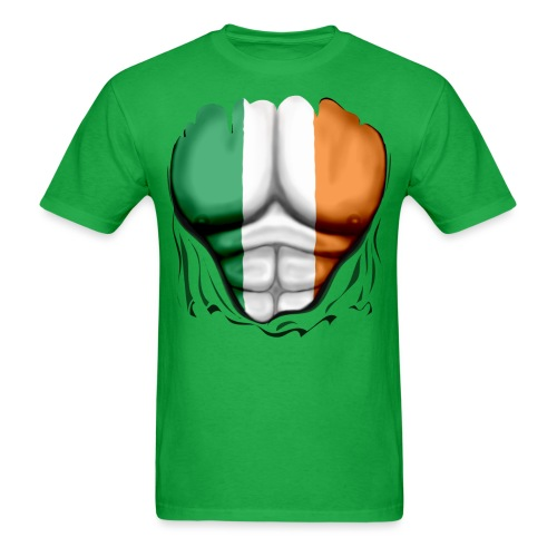 Ireland Flag Ripped Muscles, six pack, chest t-shirt - Men's T-Shirt