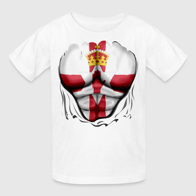 Northern Ireland Flag Ripped Muscles, six pack, chest t-shirt - Kids' T-Shirt