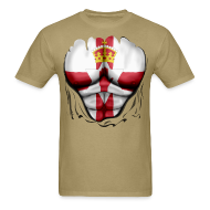 T-Shirts ~ Men's T-Shirt ~ Northern Ireland Flag Ripped Muscles, six pack, chest t-shirt
