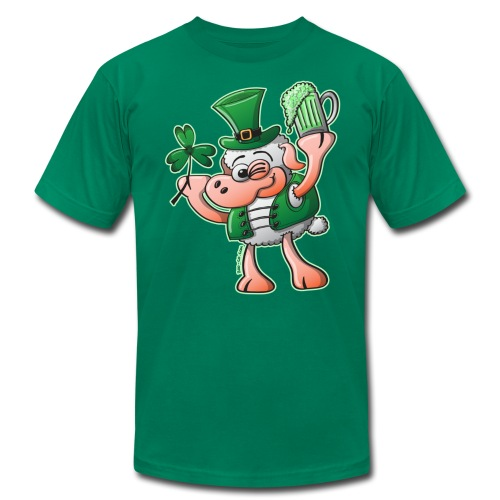 Saint Paddy's Day Sheep Drinking Beer - Men's  Jersey T-Shirt
