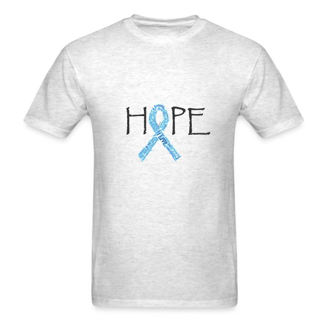 Hope with blue and pink names ribbon on back