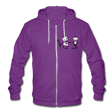 The robot gives away his heart Zip Hoodies/Jackets