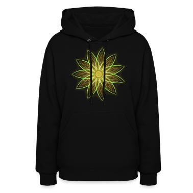 """Fractal Flower Yellow"" Geometric Art Hoodies"