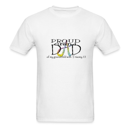 Proud T13 Granddad with pink ribbon names on back - Men's T-Shirt