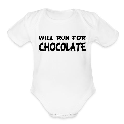 Will Run for Chocolate - Organic Short Sleeve Baby Bodysuit