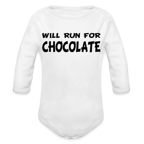 Will Run for Chocolate - Organic Long Sleeve Baby Bodysuit