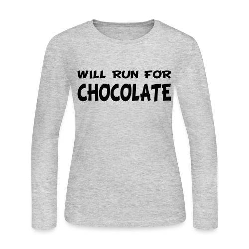 Will Run for Chocolate - Women's Long Sleeve Jersey T-Shirt