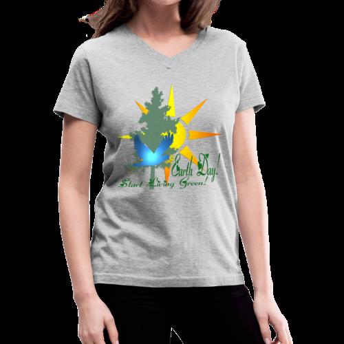 Earth Day - Women's V-Neck T-Shirt