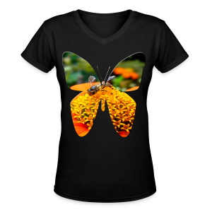 Butterfly busy bee - Women's V-Neck T-Shirt