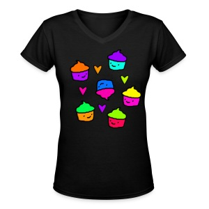 Colorful Cupcakes & Hearts - Women's V-Neck T-Shirt
