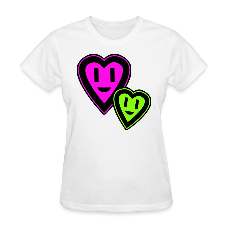 Green & Pink Smiley Hearts - Women's T-Shirt