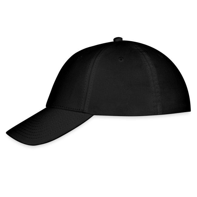"""ES"" black ballcap w/red"