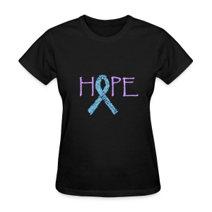 Purple hope with pink ribbon names on back - Women's T-Shirt