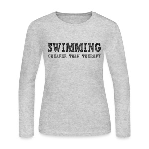 Swimming Cheaper Than Therapy - Women's Long Sleeve Jersey T-Shirt