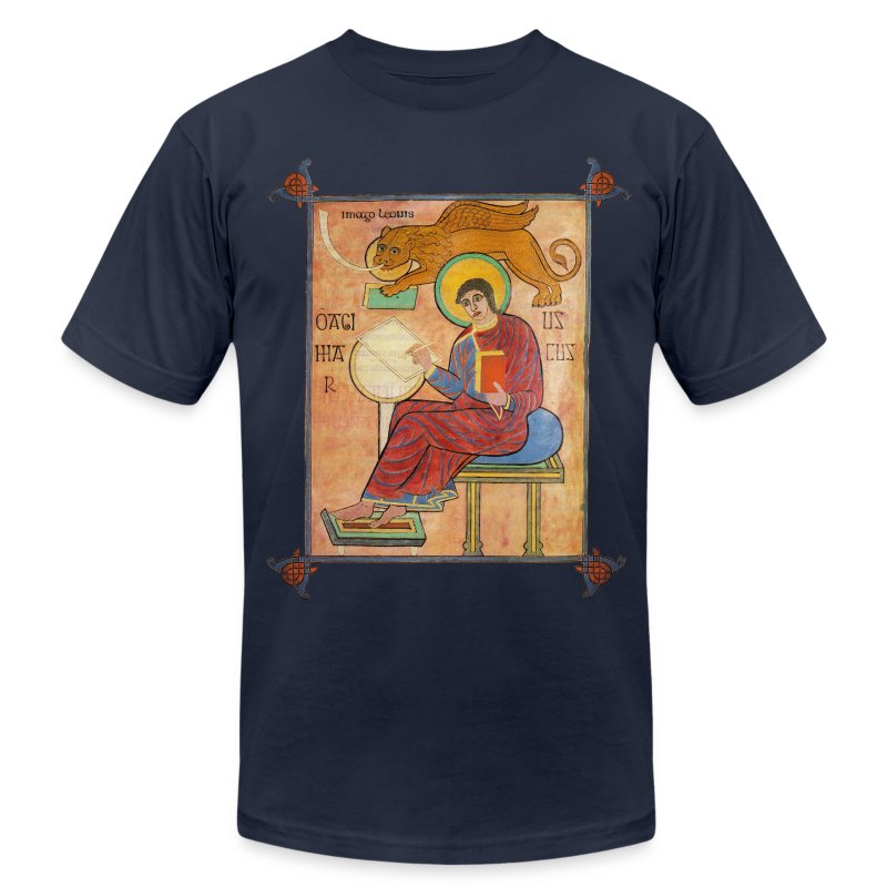 St. Mark, Lindisfarne Gospels - Men's T-Shirt by American Apparel