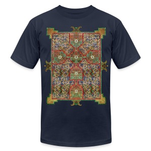 Lindisfarne Gospels: Cross-carpet page introducing the Gospel according to St. Matthew. 698-720 AD. Northumbria, England.  - Men's T-Shirt by American Apparel