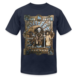 Uta Codex: St. Erhard w/ a Deacon. 1015-1020 CE. - Men's T-Shirt by American Apparel
