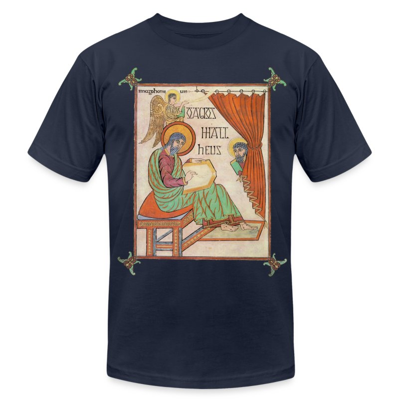 Saint Matthew; Lindisfarne Gospels - Men's T-Shirt by American Apparel