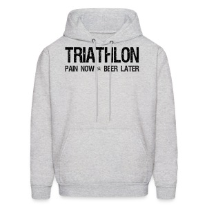 Triathlon Pain Now Beer Later - Men's Hoodie