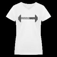 Women's T-Shirts ~ Women's V-Neck T-Shirt ~ Women's V-Neck MuscleHack T-Shirt