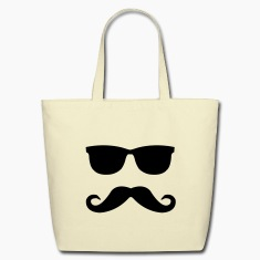 mustache and glasses Bags