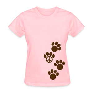 Women's T-Shirt - cat,dog,doggie,kitten,kitty,paw print,paw prints,peace sign,peace symbol,pets,pup,puppy,t-shirt