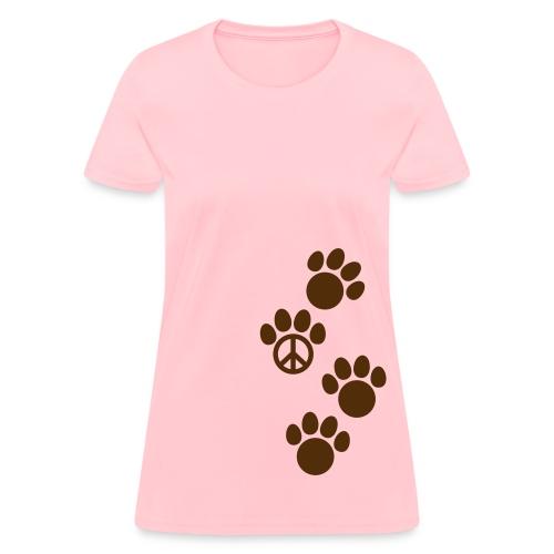 Women's T-Shirt - t-shirt,puppy,pup,pets,peace symbol,peace sign,paw prints,paw print,kitty,kitten,doggie,dog,cat