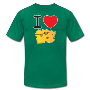 I Heart Cheese - Men's T-Shirt by American Apparel