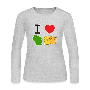 I Heart Wisconsin Cheese - Women's Long Sleeve Jersey T-Shirt